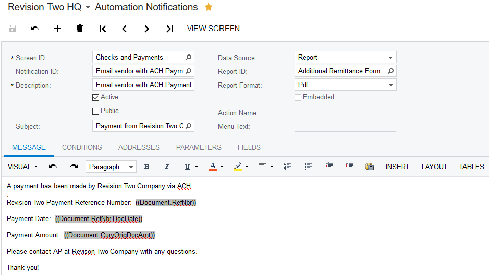 Emailing Vendor Remittances for AP ACH Payments in Acumatica